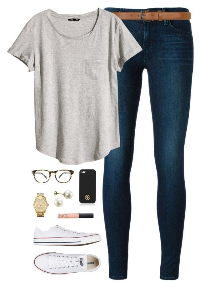 """simple"" by classically-preppy ❤ liked on Polyvore featuring J Brand, Dorothy Perkins, H&M, Converse, Warby Parker, Tory Burch, Michael Kors and NARS Cosmetics"