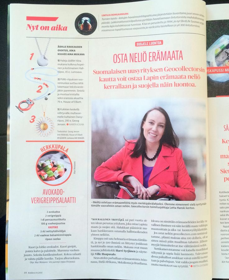 Finnish womens' magazine #Kotiliesi published a small article about #Geocollectors in the beginning of May.