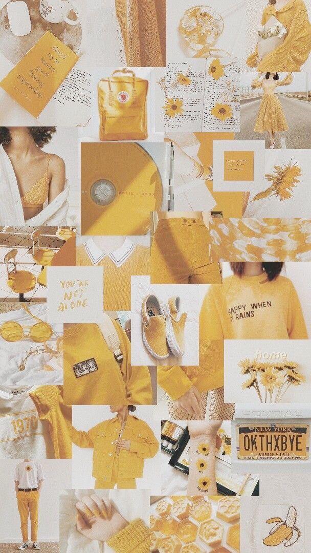Wallpaper Aesthetic Yellow Yellowwallpaper Collage Lockscreen