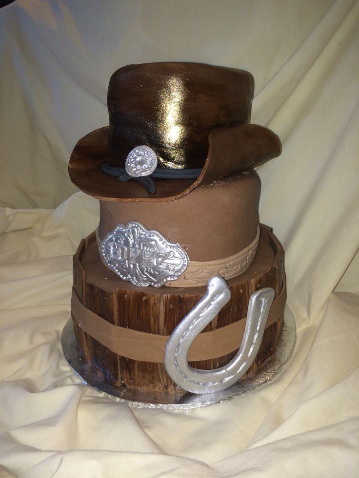 Cowboy hat Western Horshoe belt buckle birthday cake by Inphinity Designs