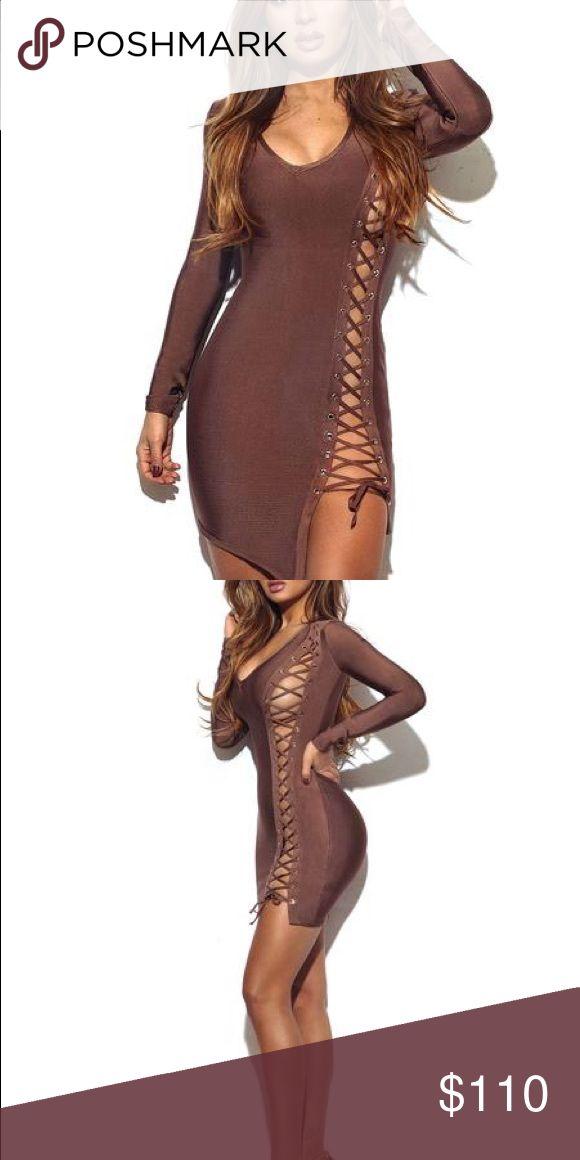 Coffee Lace Up Detail Long Sleeve Bandage Dress 😍😍 Celine Dresses Long Sleeve