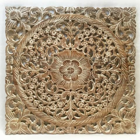 """Asian Wood Wall Plaques. Wall Sculptures. Large Wood Wall Hangings. Floral Design. Rustic Wall Decor. 24"""" Square Color Options Available"""