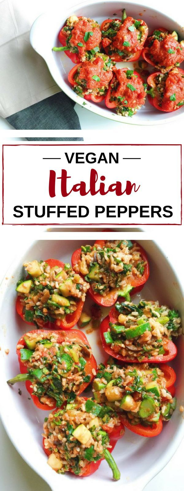 Italian stuffed peppers get a vegan twist. These peppers use a homemade, yet simple, marinara sauce and are stuffed with zucchini, brown rice, walnuts, olives, and broccolini.