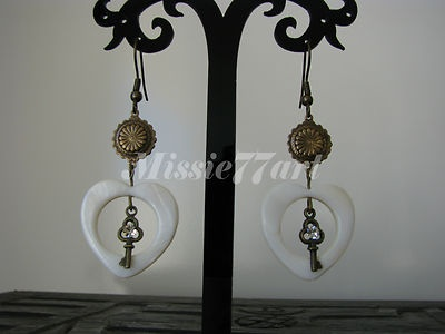 Key to My Heart Antique Gold Earrings with White Shell and Diamantes $26.95