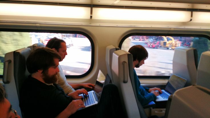 Team Teleport working on Caltrain