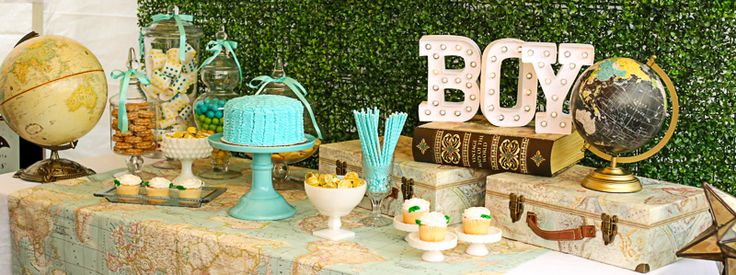 Welcome To The World Baby Shower - Dessert Table - Pretty Little Showers at Leffingwell Elementary School's 2015 Family Fun Night.