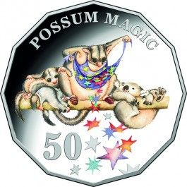 2018 50c Possum Magic Baby Proof Coin  Whimsical, passionate, imaginative and proudly Australian, the 2018 Possum Magic Baby Proof Coin Set features a special colour printed 50c design of one of Julie Vivas' beautiful illustrations. It will be a truly special gift to celebrate the birth of a child in 2018.