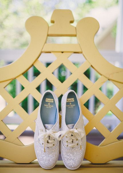 Wedding sneaker idea for bride - sparkly Keds sneakers {Brandy Angel Photography}