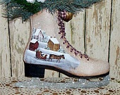 Painted Ice Skate Primitive Folk Art Winter Saltbox Horse Sleigh OFG. $32.49, via Etsy.