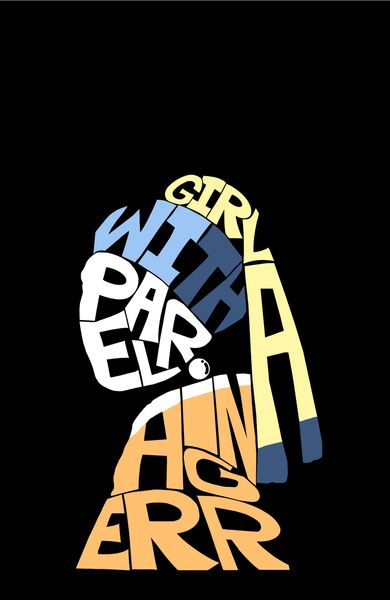 'Girl with a Pearl Earring' typography by Dino Hatta, via society6