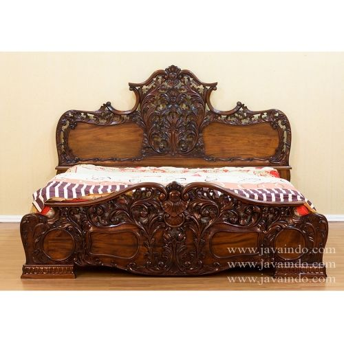 Rollee Bed Queen Size, Antique Bedroom Furniture Style Rollee QUeen Size  From Mahogany Wooden Enrich