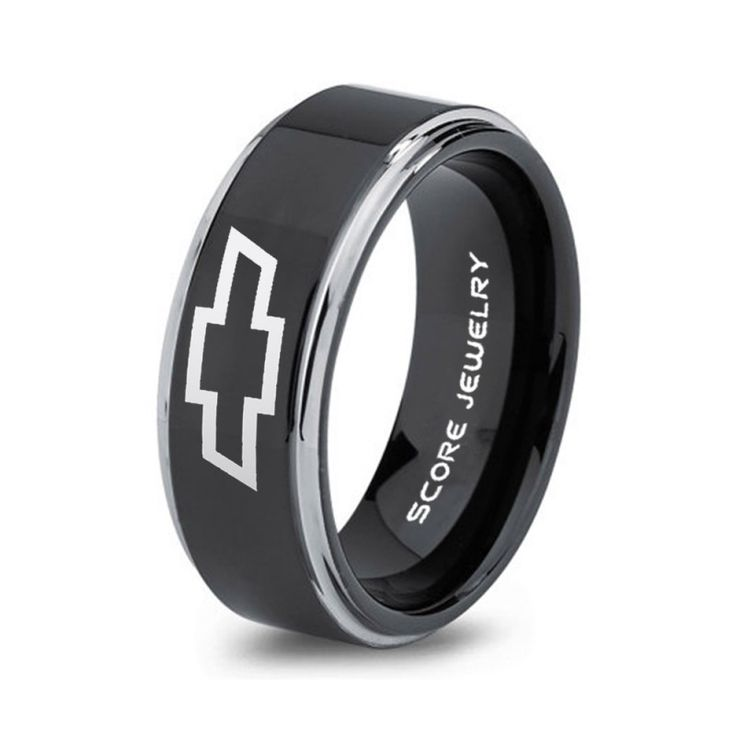 Black Tungsten Ring with Step Edge Polished Finish 8mm Tungsten Wedding Band Chevy Bowtie Ring Chevrolet Ring Chevy Ring