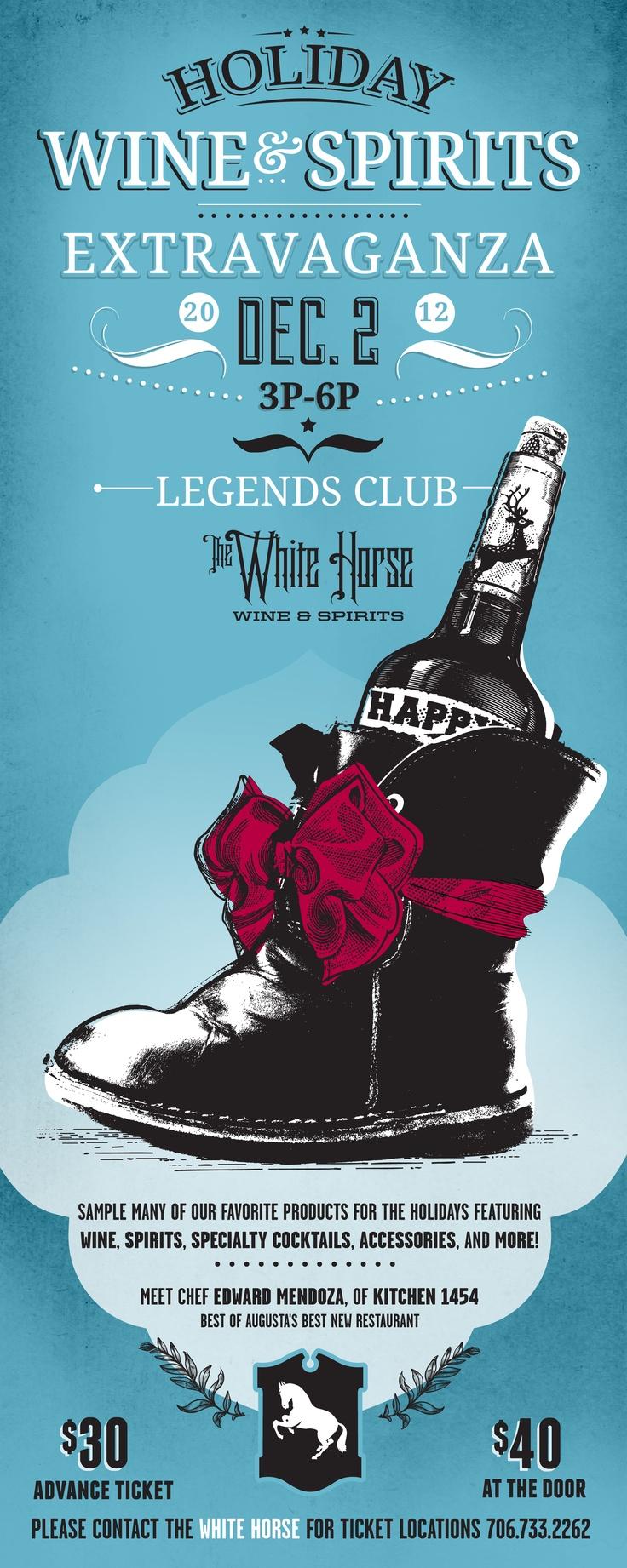 Poster design sample - White Horse Wine Spirits Poster Holiday