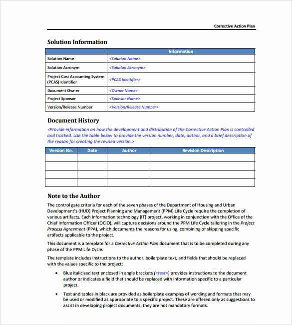 Employee Corrective Action Form Template Awesome Employee Corrective Action Form Action Plan Template How To Plan Action Plan