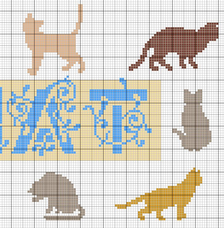 cat cross stitch or needlepoint pattern