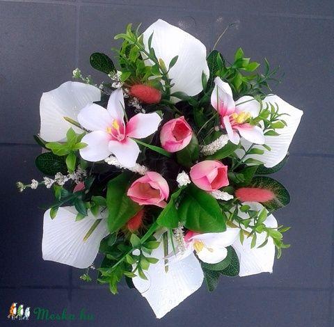 Kála és tulipán asztaldísz kerámia kaspóban (pinkrose) - Meska.hu