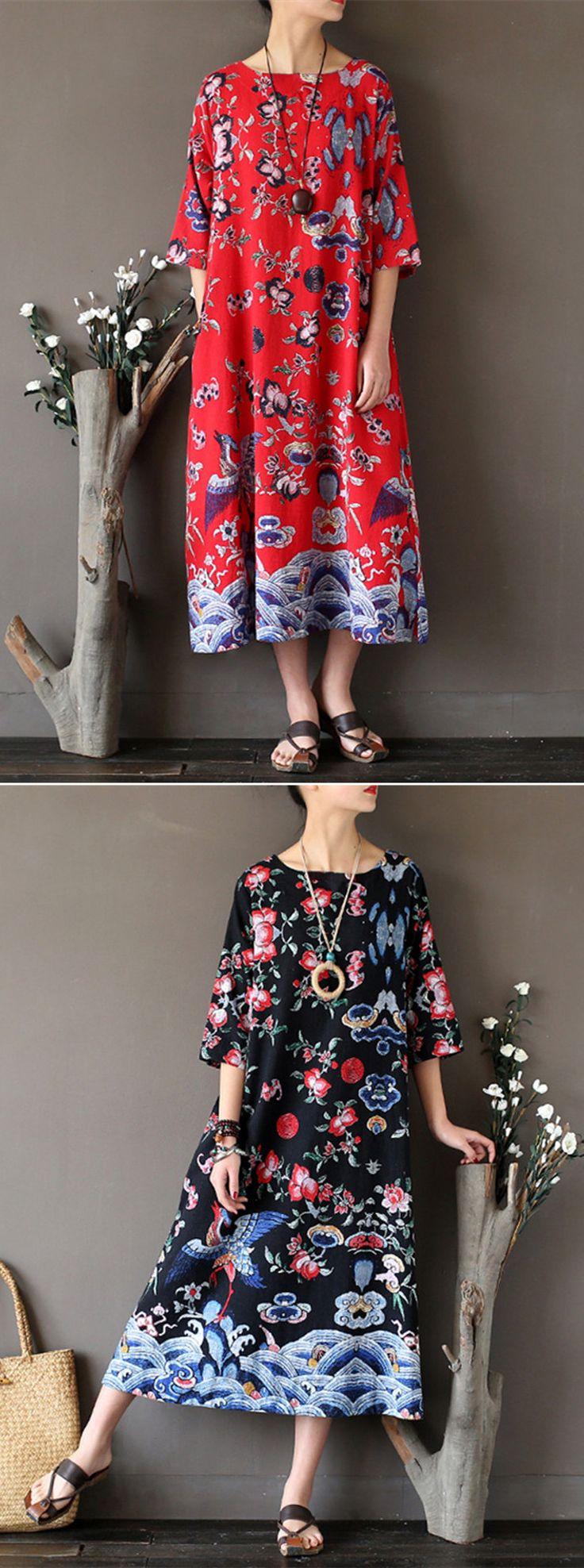 US$22.38 Women Ethnic Printed Half Sleeve Vintage Maxi Dresses