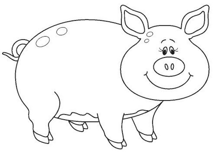 Schwein Ausmalbilder tiere 08  VorlagenSchablonen