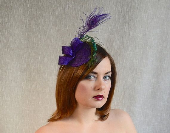 Purple Fascinator with Peacock Feathers - Purple Cocktail Hat