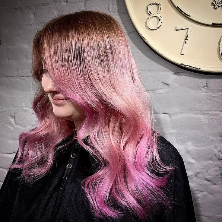 Long brown hair with hot pink ends