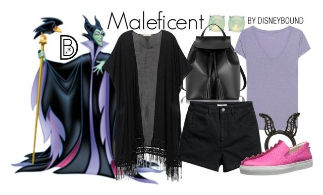 """""""Maleficent"""" by leslieakay ❤ liked on Polyvore featuring Spartina 449, Le Parmentier, Juvia, Victoria's Secret, Disney, Boutique Moschino, disney, disneybound and disneycharacter"""