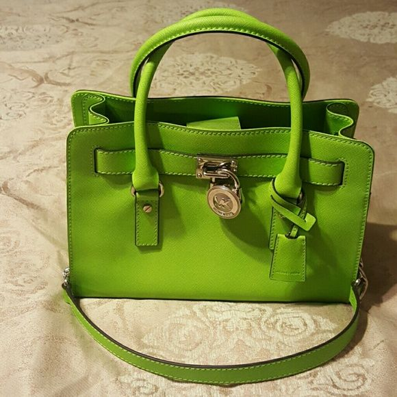 Authentic Michael Kors Handbag Lime green  EW  Satchel Saffiano Leather Hamilton in new condition Medium size MICHAEL Michael Kors Bags Satchels