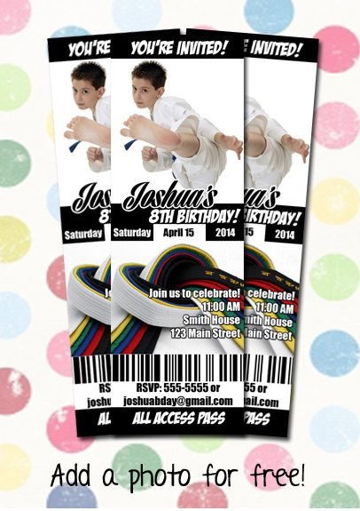 75 best images about Invitations – Karate Party Invitations