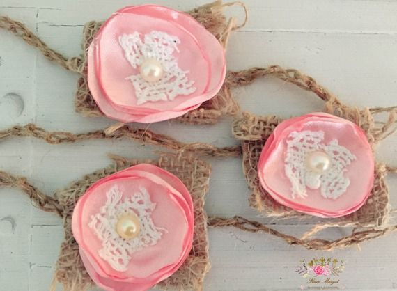 Headband Crochet twine tieback bébé mini rose satin , newborn ,nouveau-né