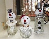 Decoration for Holidays Winter scene Vintage upcycled salt and pepper shakers lead crystal Snowman Christmas balls.