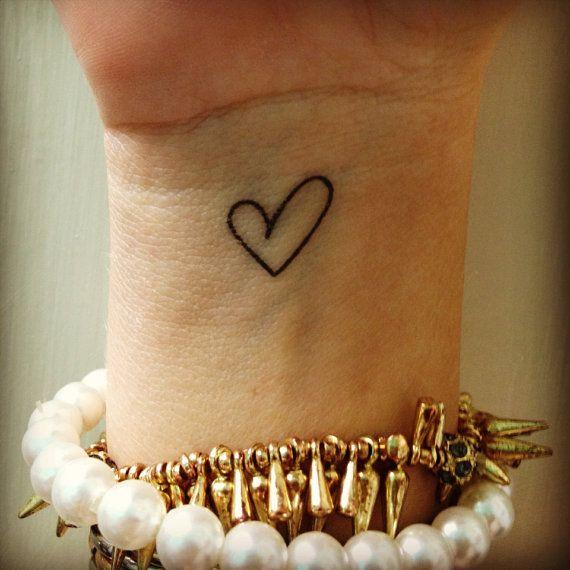 temporary tattoos / set of 6 heart outline tattoos / dainty love fake tattoo / happytatts etsy on Etsy, $6.00: