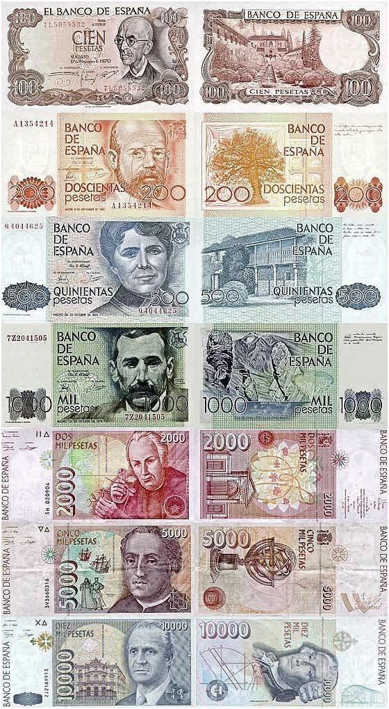 Post Franco Spanish currency in print.  Pesetas.