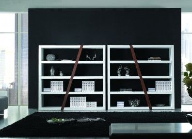 Montina Bookcase. With a beautiful combination of walnut and high-gloss two pack, this elegant design is sure to stand out within your home.