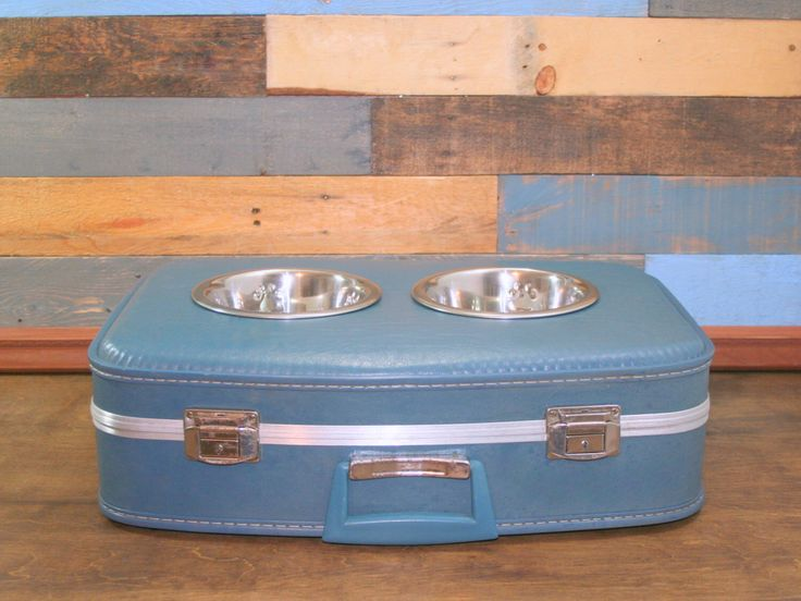 Suitcase Dog Feeder, Small Pet Feeder, Repurposed, Vintage Suitcase, Pet Supplies, Upcycle, Pet Feeding, Elevated Dog Bowl, Raised Dog Bowl by TheCleverRaven on Etsy https://www.etsy.com/au/listing/254677323/suitcase-dog-feeder-small-pet-feeder