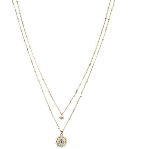 LC Lauren Conrad Freshwater Cultured Pearl Starburst Double Pendant,... found on Polyvore featuring jewelry, necklaces, accessories, pearl, flower pendant, flower necklace, freshwater pearl pendant necklace, gold tone necklace and cultured pearl pendant necklace