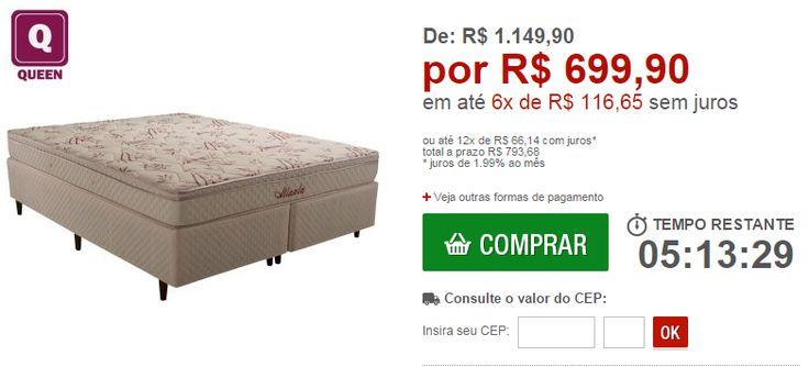 Cama Box  Colchão Queen de Molas Bonnel Atlanta Bambu com PillowTop e Tecido Anti Ácaro Herval << R$ 69990 em 6 vezes >>