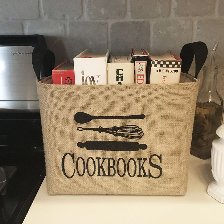 Organizing your kitchen cookbooks was never more fun than with this rustic storage basket. Each storage bin is hand crafted from burlap and canvas-- natural textures that will blend effortlessly with