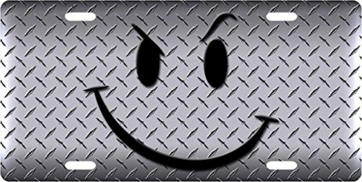 Diamond Plate Smiley Personalized License Plates Cover Metal Car Tag Auto Tag Private Number Plates 12X6 Inch - Brought to you by Avarsha.com