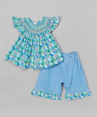 Look what I found on #zulily! Blue Floral Smock Top & Pants - Toddler by Rosalina #zulilyfinds