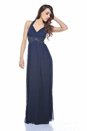 Jewel  Halter  Neck Maxi Dress