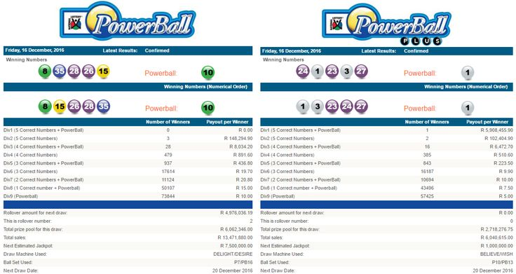 20 december 2016 powerball plus results