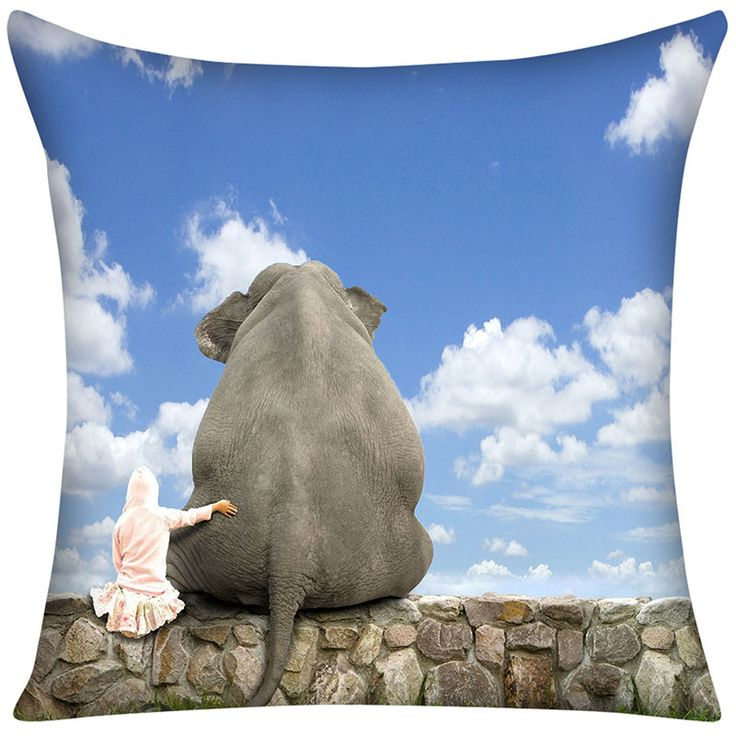 Pillow Case Funny cute girl elephant background sky Cotton Linen Pillowcase For Bedroom Chair Seat Throw Pillowcase Pillow Cover
