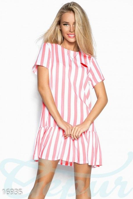 Gepur | Полосатое игривое платье арт. 16935 Цена от производителя, достоверные описание, отзывы, фото
