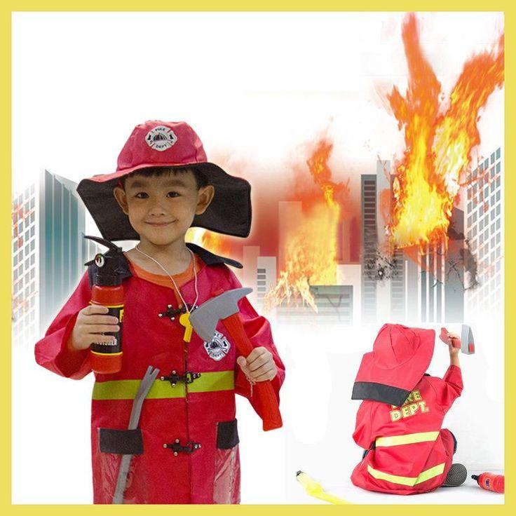 Hight Quliaty Kids Cosplay Sam Fireman Costume Child Christmas Halloween Firefighter Christmas Fancy Party Wear Cosplay Fireman