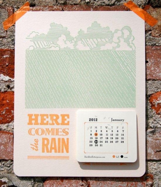 Tear away calendar from Blackbird Letterpress