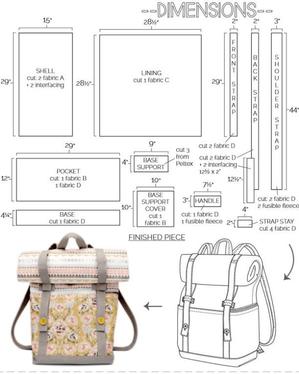 Fully featured backpack with free sewing pattern and step by step tutorial. Has a roll over top so you can add more or less and keep the bag the right size for the contents. Great school backpack for the kids too.