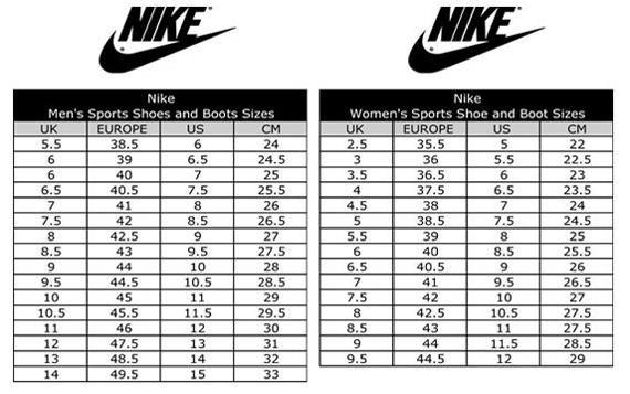 Обувь nike соответствие размеров