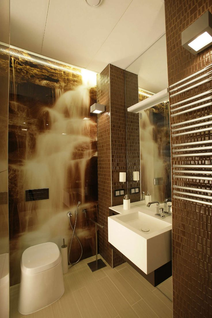 Apartment: Impressive Apartment Design in Saint Petersburg by MK-Interio, Cool Bathroom Interior of Saint Petersburg Apartment by MK-Interio showing Floating Vanity Sink and Tall Mirror and Natural Waterfall Wallpaper Decor