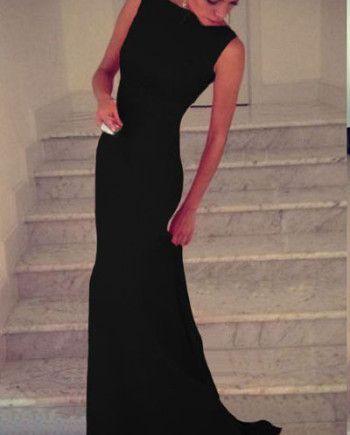 Zwarte Mouwloze Maxi Dress