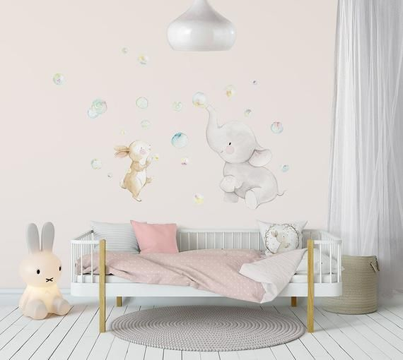 Fabric Wall Decal Bubbles Nursery Wall Decal Watercolor Decal