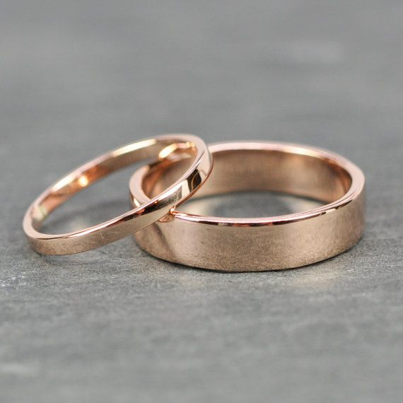 Fall Sale Rose Gold Wedding Band Set 2mm and 5mm Rings 14K Rose Gold